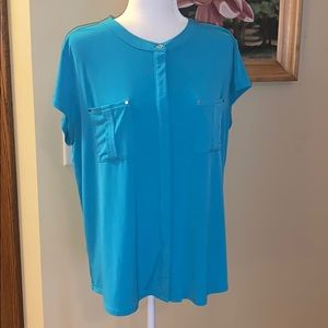 DANA BUCHMAN blue top. Size XL